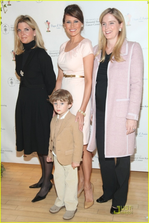 Catherine Monteiro de Barros, CEO of Papo d' Anjo, Melania Trump, Leslie Heaney, and Barron Trump attend the 18th Annual The Society of Memorial Sloan-Kettering Cancer Center Bunny Hop at FAO Schwartz on March 3, 2009 in New York City.