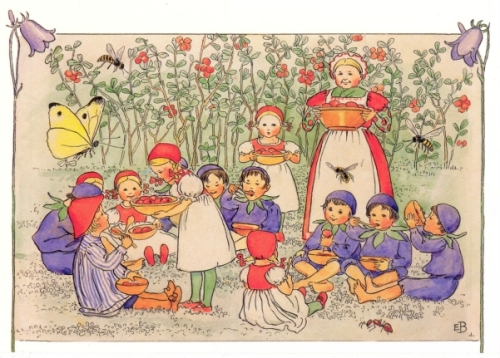 "An illustration from Elsa Beskow's ""Peter in Blueberry Land."""